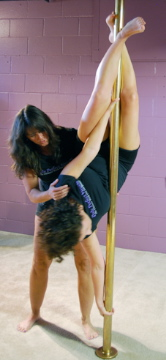 Working out -- in an alternative way -- at Pole Perfect Fitness.