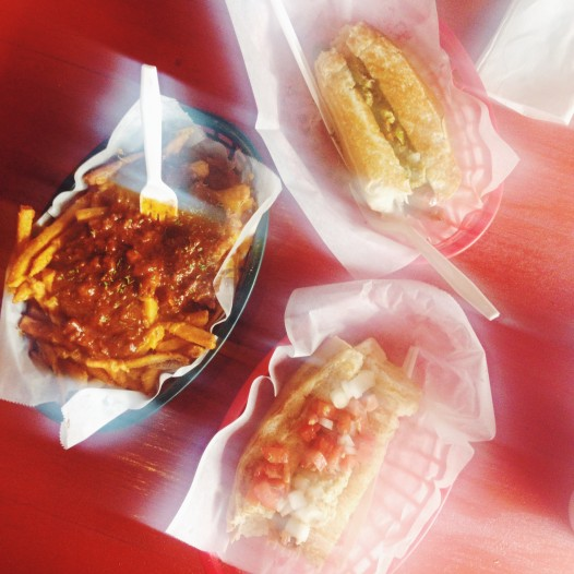 Hot dogs & chili cheese fries -- an artsy photo by Kirsten