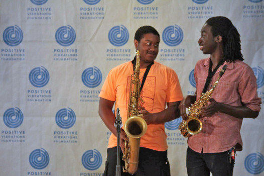 Saxophone players David Dinogue and Sterlin Brown