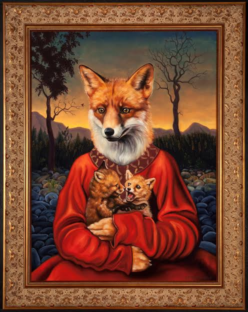 """""""Fox Mother."""" The Foundation Gallery's Dirty Linen Night showcase will feature the art of Jane Talton, whose works anthropomorphize animals through rethought depictions of 15th and 16th century northern Renaissance portraits."""