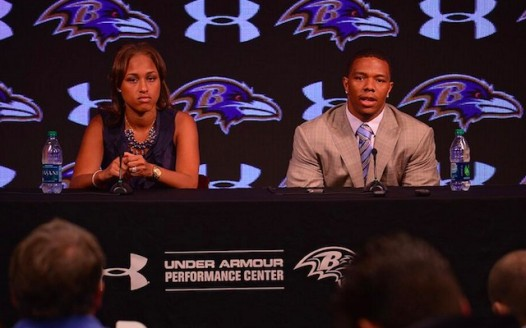 Janay and Ray Rice at a press conference in May 2014 regarding accusations of the NFL player assaulting his then-fiance at a casino in Atlantic City, N.J.