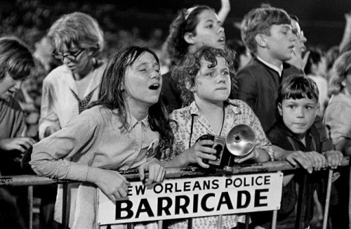 Fans crowded the barricades -- and ultimately rushed them -- on Sept. 16, 1964 in City Park.