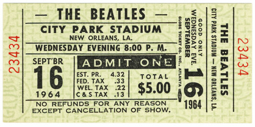 The original City Park Beatles concert ticket. Photo: WYES. WYES will hold a Beatles tribute concert in City Park on Tuesday, September 16.