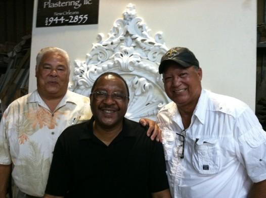 Master Plasterer Jeff Poree, NOMCG President Jonn Hankins, Master Blacksmith Darryl Reeves.
