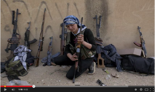 A Youtube video (see below) published on Oct 14, 2014, shows the women fighters of Kobani, armed with light old Soviet arms, surrounded by heavily equipped ISIS terrorists.