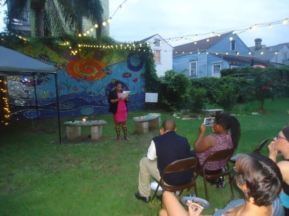 Samantha Cornelius reads at a One Book One New Orleans event put on in partnership with Louisiana Books 2 Prisoners