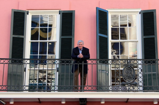 Ralph Brennan on the Brennan's French Quarter balcony where he once watched parades.