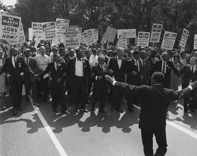 Civil Rights Leaders Martin Luther King Jr., Joseph L. Rauh Jr., Whitney Young, Roy Wilkins, A. Philip Randolph, Walter Reuther, and Sam Weinblatt at the March on Washington.