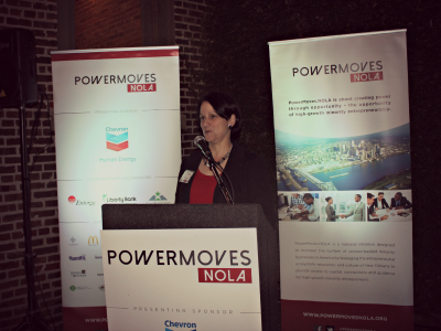 Leslie Jacobs, founder of PowerMoves.NOLA, welcoming the group's first fellows
