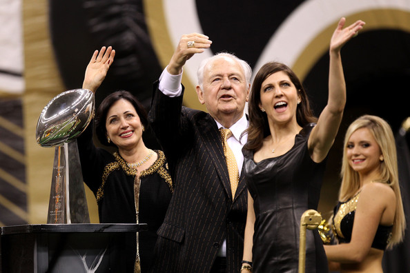 Gayle Benson (far left), Tom Benson (Center), and Tootsie Benson )far right)