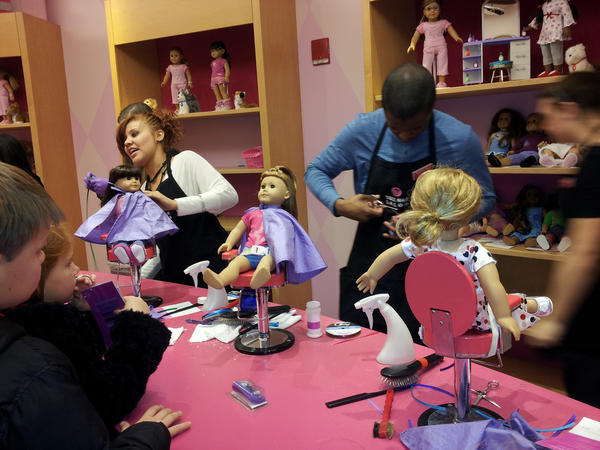 "A ""makeover"" at the American Girl doll store, just like Katie's old stomping ground... (Photo: Jon Fisher)"