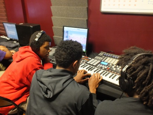 Students work on their original compositions