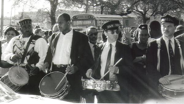 "Drummers at the funeral of jazz legend Danny Barker. They include Louis Cottrell, (great-grandson of New Orleans' innovative drumming pioneer, Louis Cottrell, Sr. and grandson of New Orleans clarinetist Louis Cottrell, Jr.) of the Young Tuxedo Brass Band, far right; Louis ""Bicycle Lewie"" Lederman of the Down & Dirty Brass band, second from right."