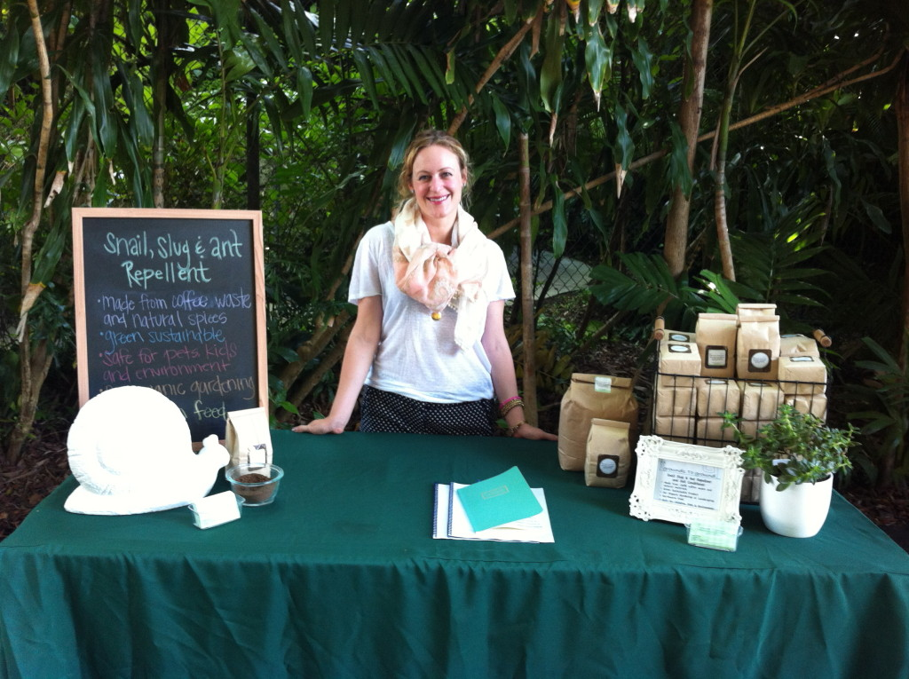 Grounds to Ground co-founder Yvette Tablada sets up shop with her all-natural soil conditioner and pest repellent, made from recycled coffee grounds.
