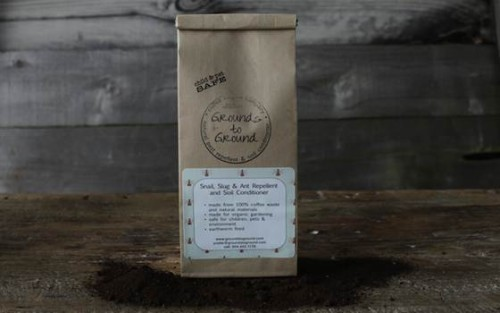 A bag of Grounds to Ground's signature blend of spices and coffee grounds.