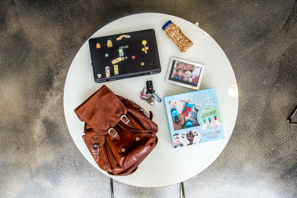 The content's of Sock Spot co-founder Niel Pierson's backpack. (Photo: Robert Warren)
