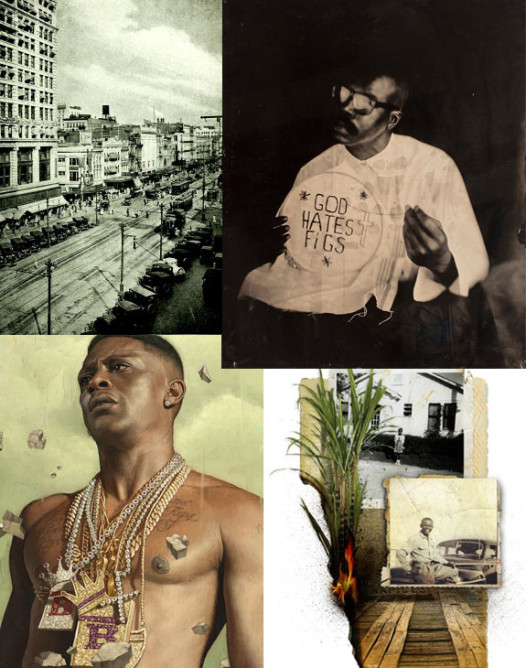 """Clockwise from top left: A picture of Canal Street the LARB editors thought evoked """"crime""""; tintype photograph by Kevin Kline; collage of images by Jen Renninger that accompanies """"We A Baddd People""""; illustration of Lil Boosie by Rory Kurtz"""