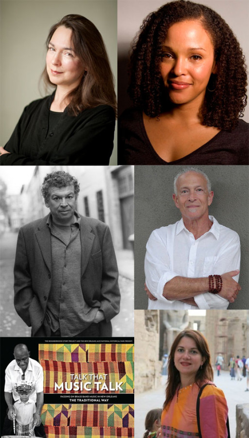 Clockwise from top left: Lorrie Moore, Jesmyn Ward, Ralph Angel, Andy Young, Talk That Music Talk, and Francisco Goldman