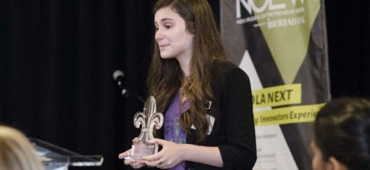 St. Mary's Dominican freshman Maygan Miguez wins the Trust Your Crazy Ideas Challenge at New Orleans Entrepreneur Week.