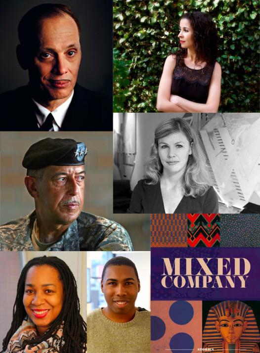 Clockwise, from top left: John Waters, Laila Lalami, Brigid Hughes, cover of Mixed Company, Saeed Jones, Vanessa Hutchinson, Lt. Gen. Russel Honoré