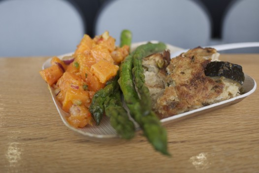 Sweet potato salad, asparagus and vegetable bread pudding from the Grand Stand. (photo: Summer Suleiman)