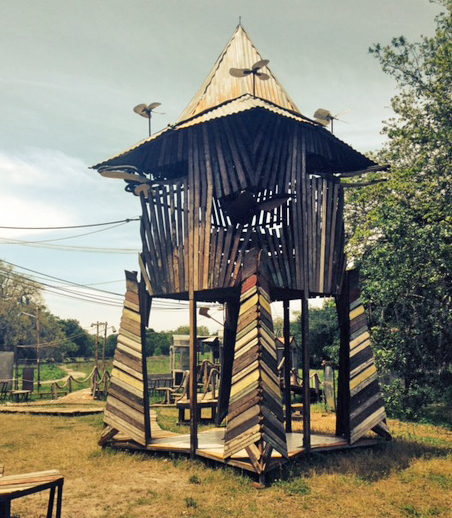 Chateau Poulet, created by artist Andrew Schrock and sound sculptor Klaas Hubner, creates whistles and howls with spinning blades and flexible tubing. (Photo: Renee Peck)