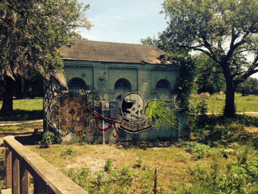 Music Box creators found a power source in this abandoned building in City Park. (Photo: Renee Peck)