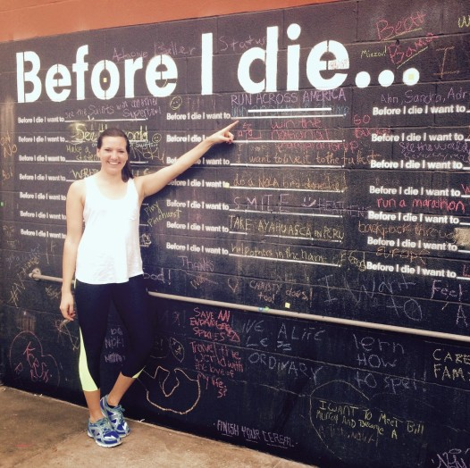 Liz Cowle documented her dream of running across America on Candy Chang's 'Before I Die' board.