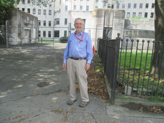 Dr. Howard Mielke in front of Charity Hospital, which used to provide treatment for the mentally ill.