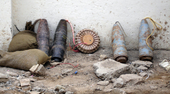 Ammunition rigged as an improvised explosive device (IED) seized by Iraqi police in 2005.