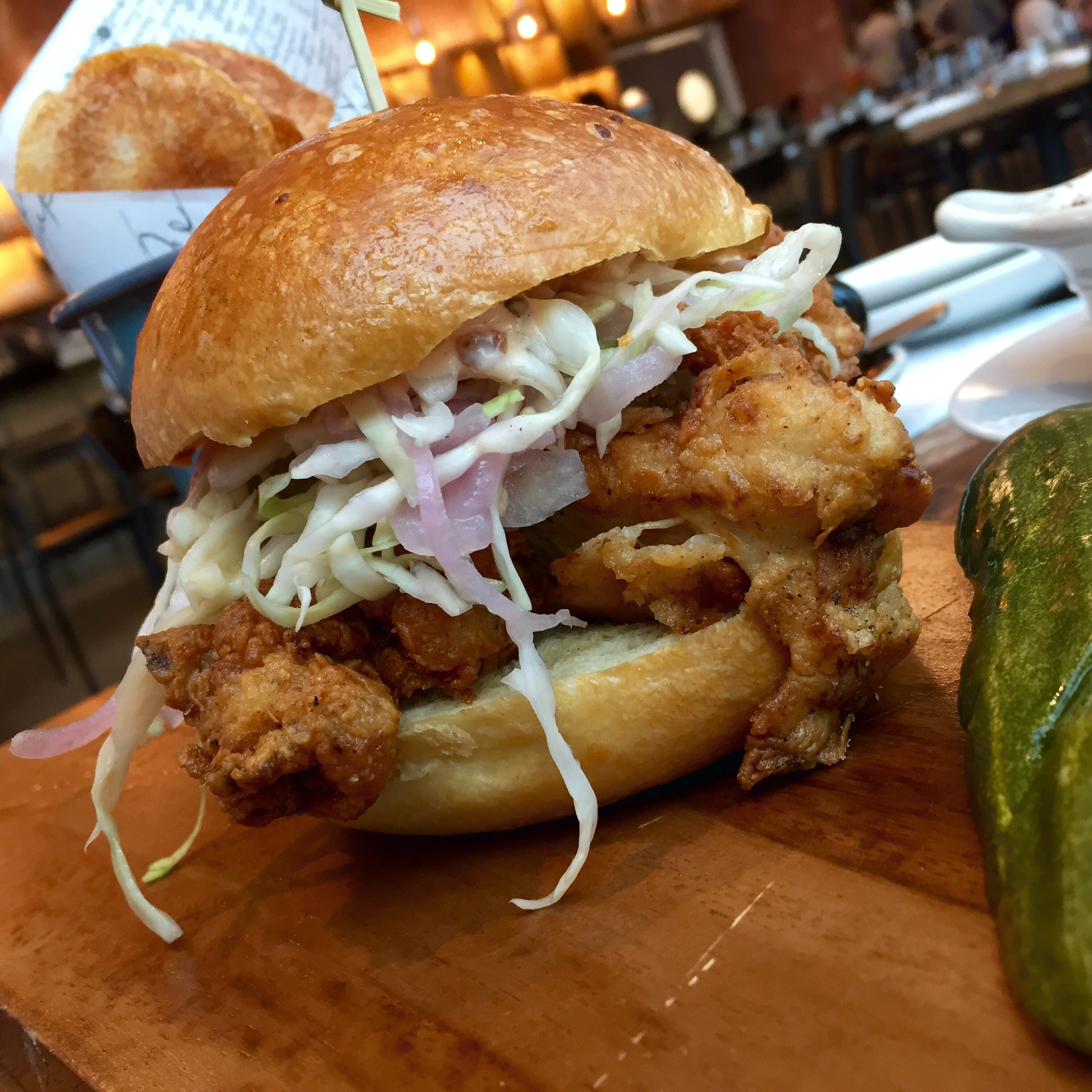 The fried chicken sandwich at Willa Jean: A Platonic Ideal