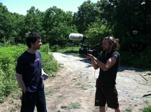 """Reversing the Mississippi"" director Ian Midgley with documentary subject Marcin Jakubowski."