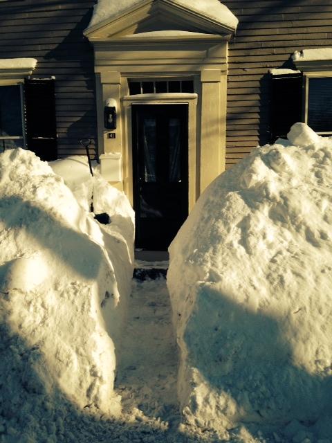 Snow piled up on author's house.Door closeup