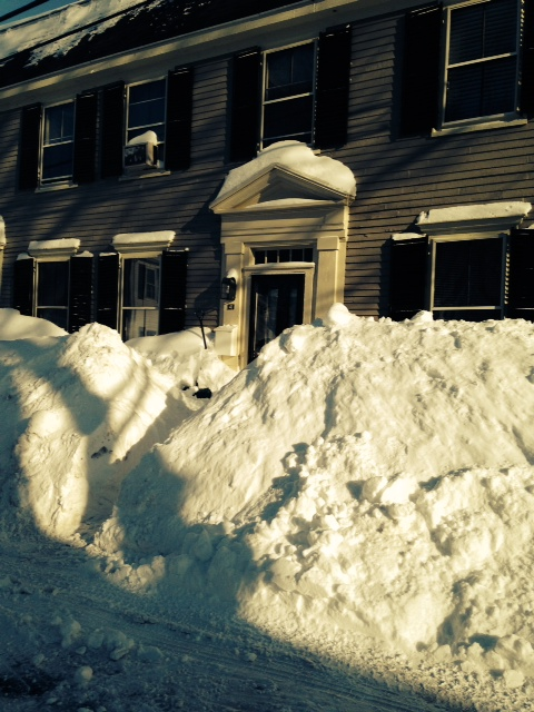 Snow piled up on author's house