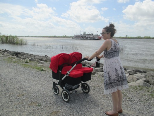Sarah and the twins strolling on the Holy Cross levee.
