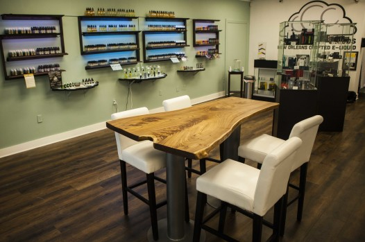 Crescent City Clouds has a sampling bar where vapers can test produces. (Photo: Chris Flowers)