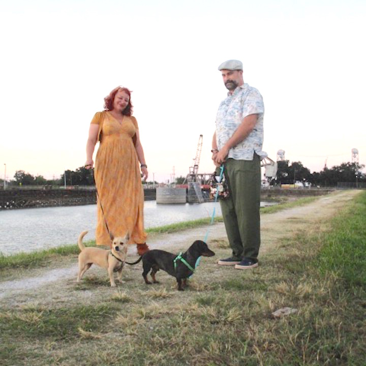 Ladybird, Ferdinand, Joy and Matt by the Industrial Canal in Holy Cross