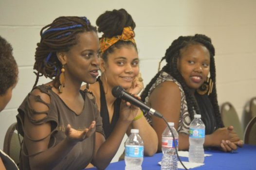 Nicole Deggins, founder of Sista Midwife Productions speaks at the Neo Jazz School of Music alongside Gabrielle Cooks and Regina Hall.