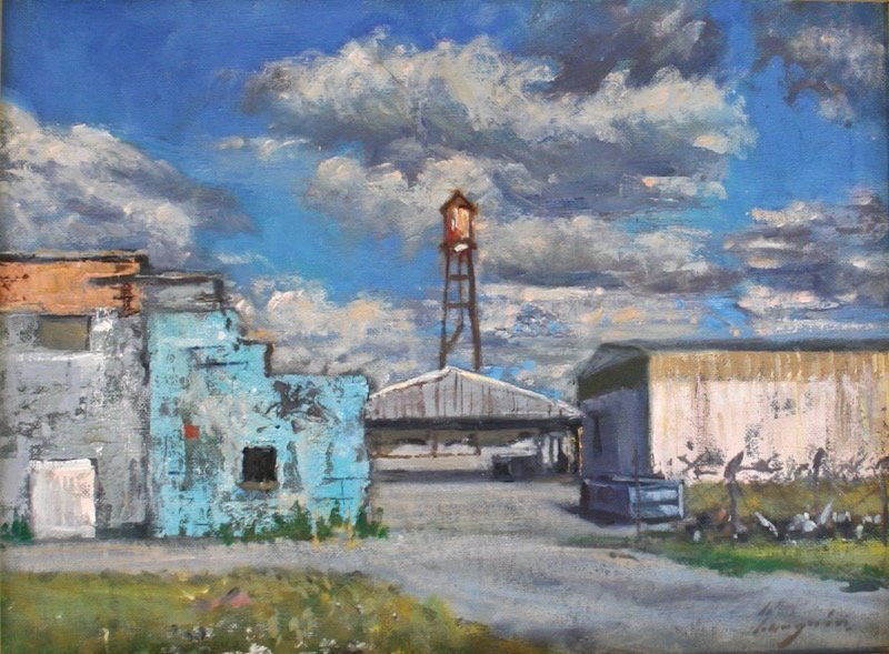 An oil painting by Diego Larguia of riverfront warehouses in Holy Cross.