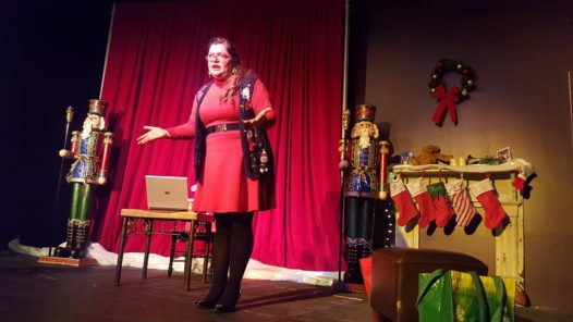 "Allee Peck performs in ""Season's Greetings"" at The Valiant Theatre."