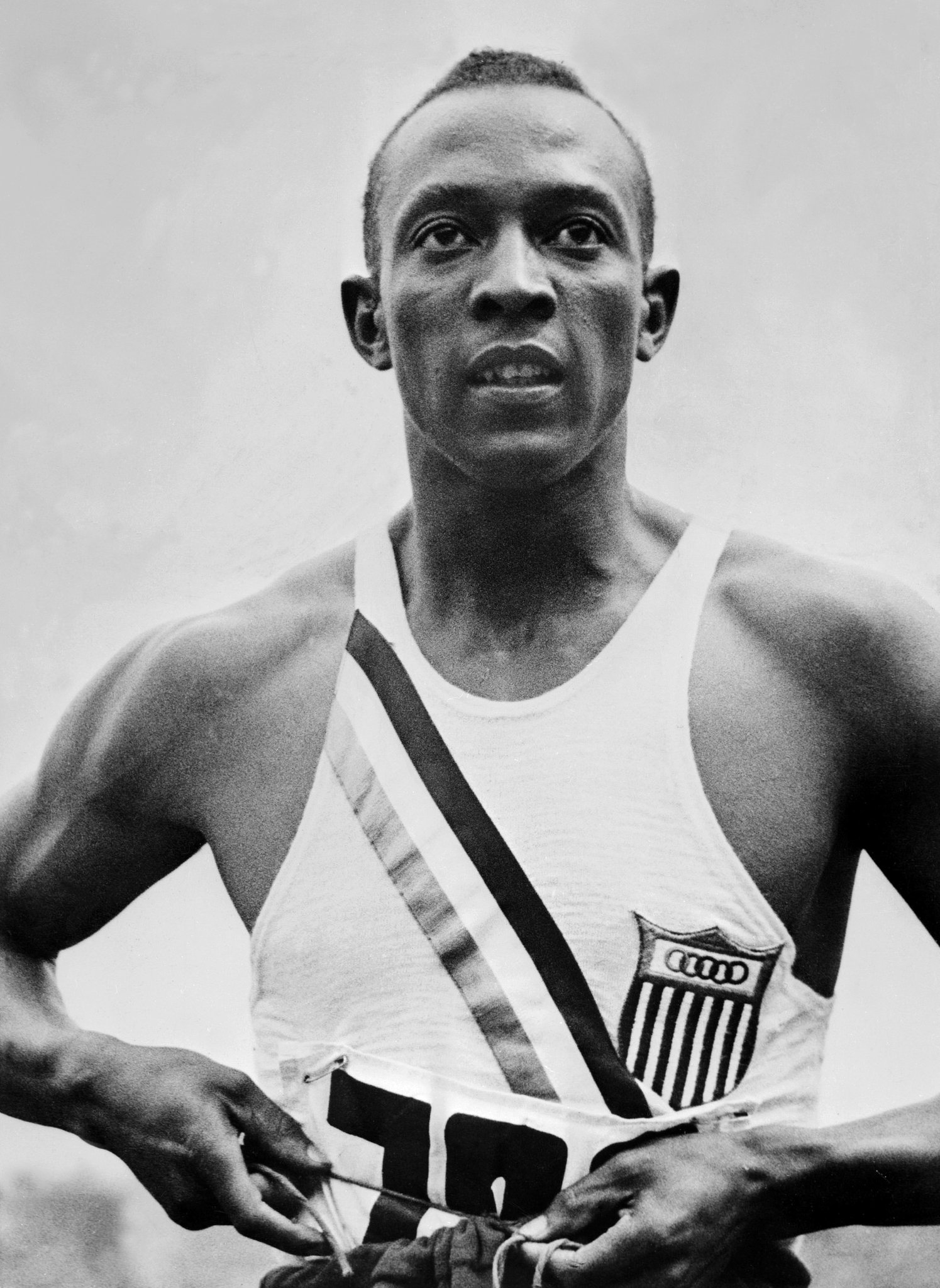 Jesse Owens in the 1936 Olympics.